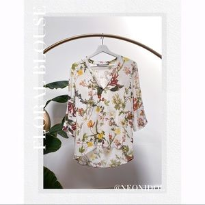 Zara Portugal Collection Floral Blouse